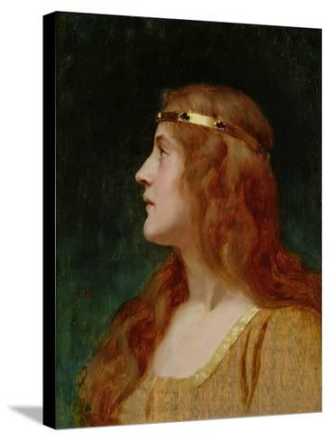 A Medieval Beauty-Edmund Blair Leighton-Stretched Canvas Print