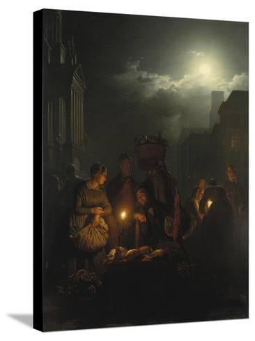 Night Market in Antwerp-Petrus van Schendel-Stretched Canvas Print