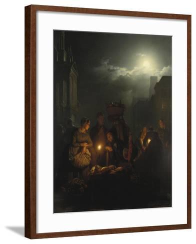 Night Market in Antwerp-Petrus van Schendel-Framed Art Print