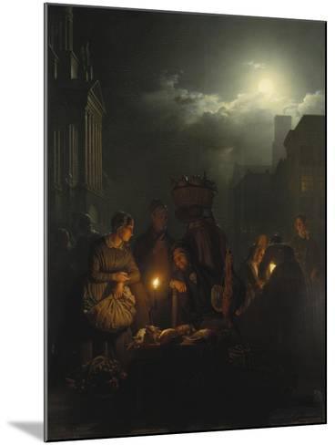 Night Market in Antwerp-Petrus van Schendel-Mounted Giclee Print