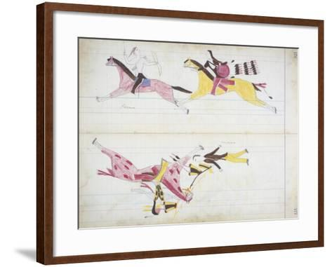 Pawnee Chased by Cheyenne and a White Man Killed by Crooked Lance from the 'Black Horse Ledger'--Framed Art Print