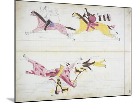Pawnee Chased by Cheyenne and a White Man Killed by Crooked Lance from the 'Black Horse Ledger'--Mounted Giclee Print