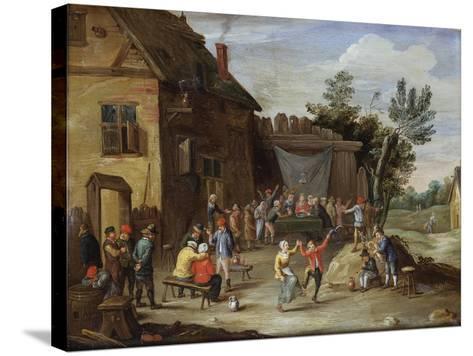 A Wedding Feast in the Courtyard of a Village Inn-Jan van Kessel the Elder-Stretched Canvas Print