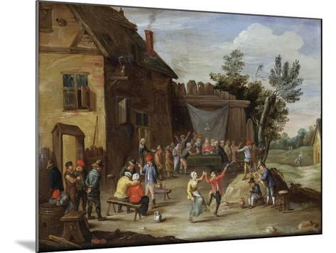 A Wedding Feast in the Courtyard of a Village Inn-Jan van Kessel the Elder-Mounted Giclee Print