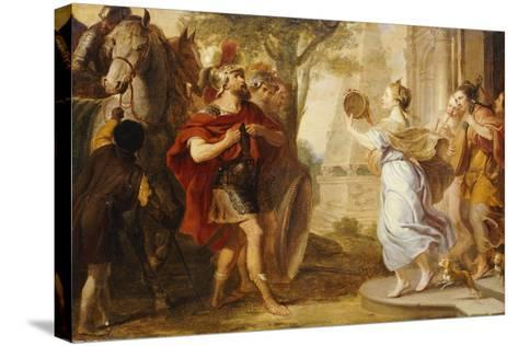 Jepthah Greeted by His Daughter-Erasmus Quellinus-Stretched Canvas Print