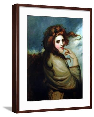 Portrait of Emma Hamilton (C.1765-1815)-George Romney-Framed Art Print