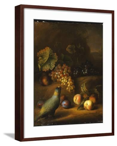 A Parrot with Grapes, Peaches and Plums in a Landscape-Tobias Stranover-Framed Art Print
