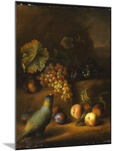 A Parrot with Grapes, Peaches and Plums in a Landscape-Tobias Stranover-Mounted Giclee Print