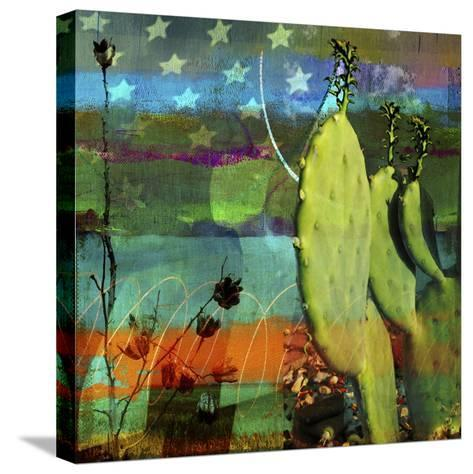 Cactus and Flag Collage-Sisa Jasper-Stretched Canvas Print