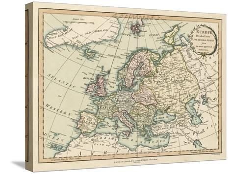 Historic Map of Europe-Laurie & White-Stretched Canvas Print