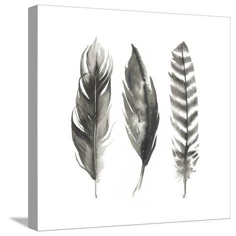 Watercolor Feathers I-Grace Popp-Stretched Canvas Print