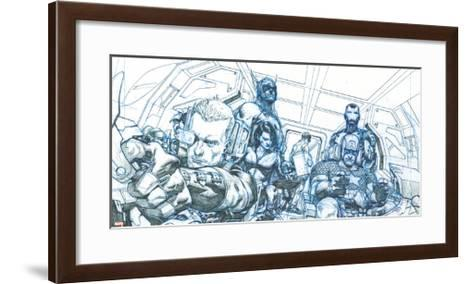 Avengers Assemble Pencils Featuring Hawkeye, Captain America, Iron Man, Thor, Black Widow--Framed Art Print