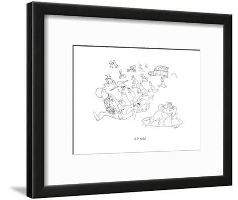 Air raid - New Yorker Cartoon-Saul Steinberg-Framed Art Print