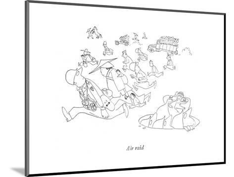 Air raid - New Yorker Cartoon-Saul Steinberg-Mounted Premium Giclee Print