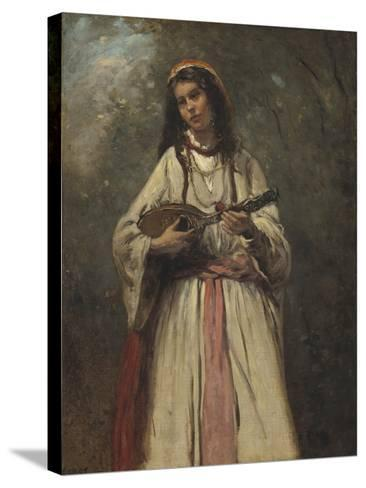 Gypsy Girl with Mandolin, c.1870-Jean-Baptiste-Camille Corot-Stretched Canvas Print