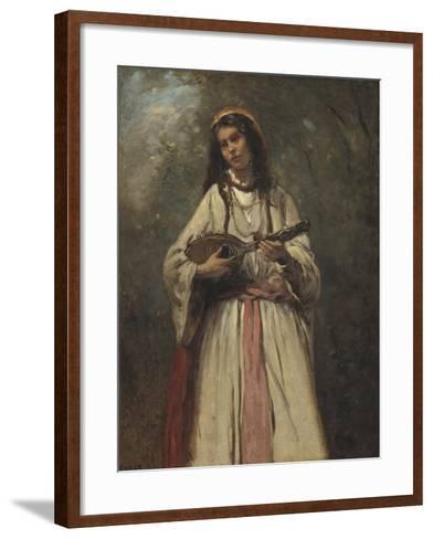 Gypsy Girl with Mandolin, c.1870-Jean-Baptiste-Camille Corot-Framed Art Print