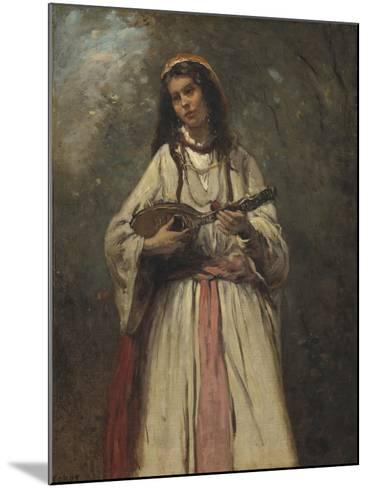 Gypsy Girl with Mandolin, c.1870-Jean-Baptiste-Camille Corot-Mounted Giclee Print