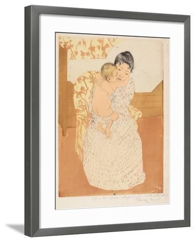 Maternal Caress, 1890-1-Mary Cassatt-Framed Art Print