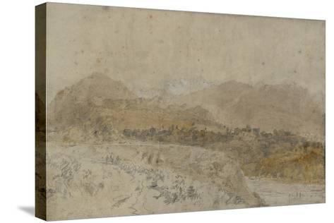 St Gothard and Mont Blanc Sketchbook [Finberg LXXV], Mont Blanc from the Arve Valley-J^ M^ W^ Turner-Stretched Canvas Print
