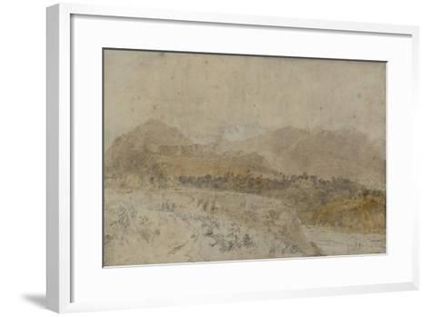 St Gothard and Mont Blanc Sketchbook [Finberg LXXV], Mont Blanc from the Arve Valley-J^ M^ W^ Turner-Framed Art Print