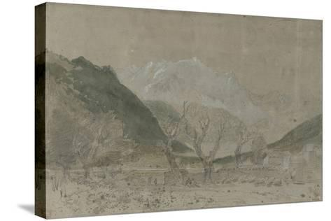 St Gothard and Mont Blanc Sketchbook [Finberg LXXV], Mont Blanc, from Sallanches-J^ M^ W^ Turner-Stretched Canvas Print