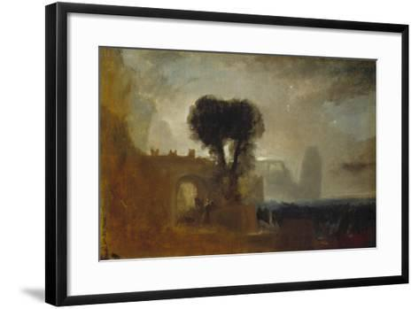 Archway with Trees by the Sea; Sketch for 'The Parting of Hero and Leander'-J^ M^ W^ Turner-Framed Art Print