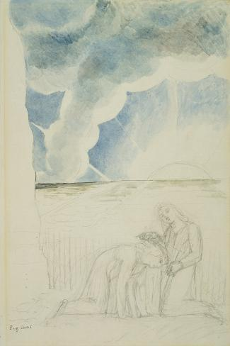 Illustrations to Dante's 'Divine Comedy', Virgil Girding Dante's Brow with a Rush-William Blake-Stretched Canvas Print
