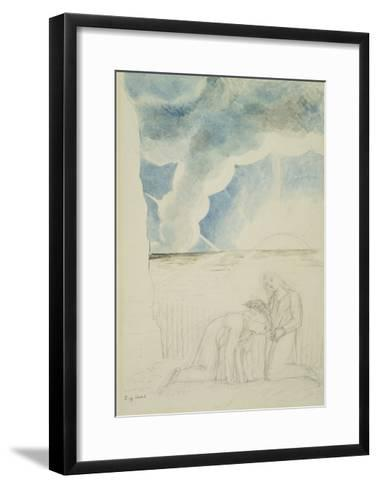 Illustrations to Dante's 'Divine Comedy', Virgil Girding Dante's Brow with a Rush-William Blake-Framed Art Print