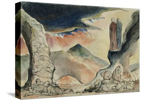 Illustrations to Dante's 'Divine Comedy', the Pit of Disease: the Falsifiers-William Blake-Stretched Canvas Print