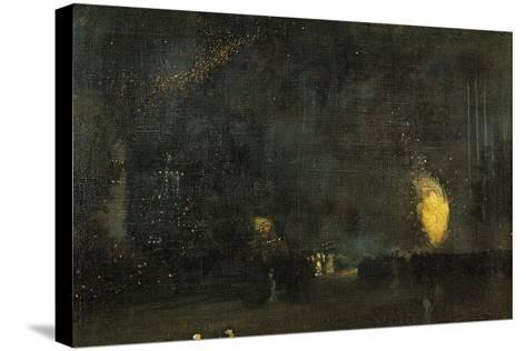 Nocturne: Black and Gold - the Fire Wheel-James Abbott McNeill Whistler-Stretched Canvas Print