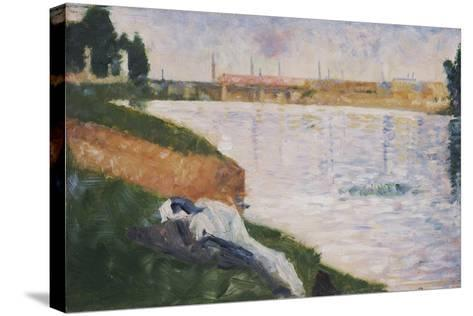 Clothes on the Grass-Georges Seurat-Stretched Canvas Print
