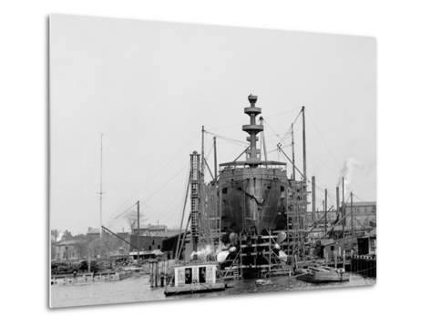Building a Warship, Cramps I.E. William Cramp Sons Ship and Engine Building Company Shipyard--Metal Print