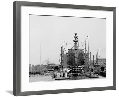 Building a Warship, Cramps I.E. William Cramp Sons Ship and Engine Building Company Shipyard--Framed Art Print