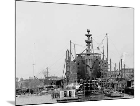 Building a Warship, Cramps I.E. William Cramp Sons Ship and Engine Building Company Shipyard--Mounted Photo