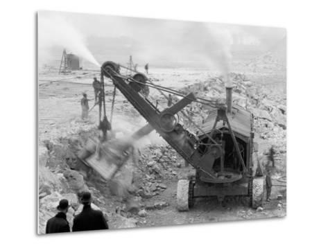 Steam Shovel Removing Rock Loosened by Dynamite, Livingstone Channel, Mich.--Metal Print