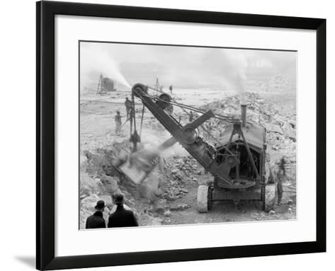 Steam Shovel Removing Rock Loosened by Dynamite, Livingstone Channel, Mich.--Framed Art Print