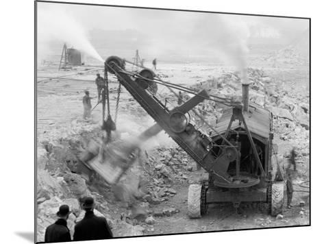 Steam Shovel Removing Rock Loosened by Dynamite, Livingstone Channel, Mich.--Mounted Photo