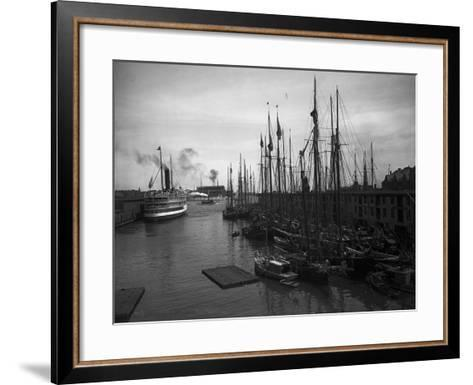 Schooners at the T Wharf--Framed Art Print