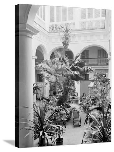 Courtyard, Hotel Florida, Havana, Cuba--Stretched Canvas Print
