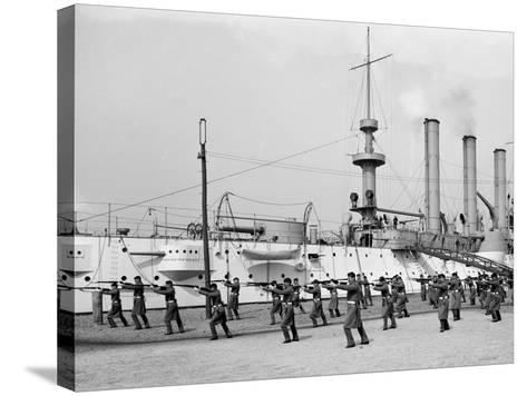 U.S.S. Brooklyn, Marine Guard Bayonet Drill--Stretched Canvas Print