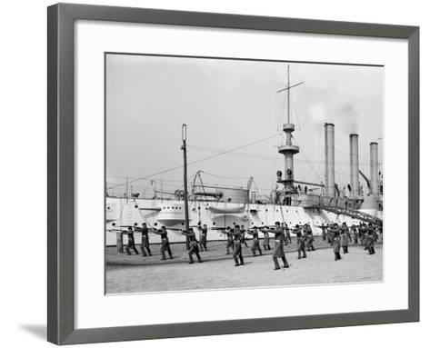 U.S.S. Brooklyn, Marine Guard Bayonet Drill--Framed Art Print