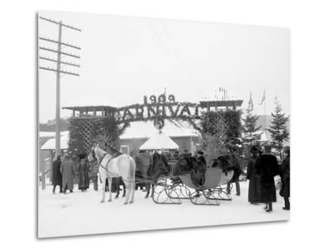 Midwinter Carnival, Entrance to Pontiac Rink, Upper Saranac Lake, N.Y.--Metal Print