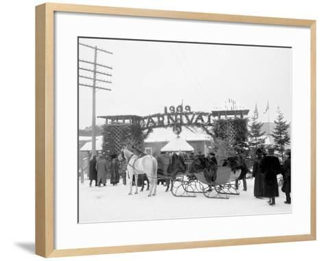 Midwinter Carnival, Entrance to Pontiac Rink, Upper Saranac Lake, N.Y.--Framed Art Print