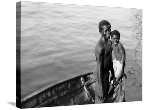 Negro Diving Boys, Nassau, W.I.--Stretched Canvas Print