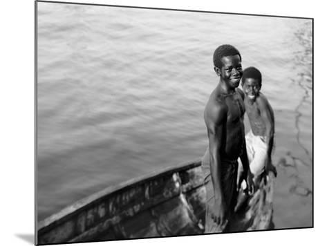 Negro Diving Boys, Nassau, W.I.--Mounted Photo