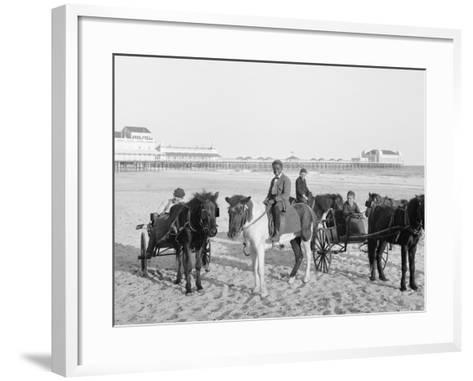 Ponies on the Beach, Atlantic City, N.J.--Framed Art Print