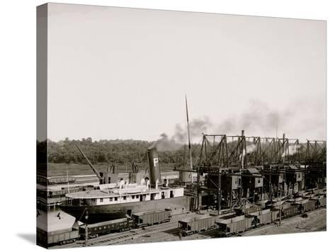 Unloading Ore at Conneaut, Ohio, Brown Conveying Hoists--Stretched Canvas Print