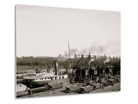 Unloading Ore at Conneaut, Ohio, Brown Conveying Hoists--Metal Print