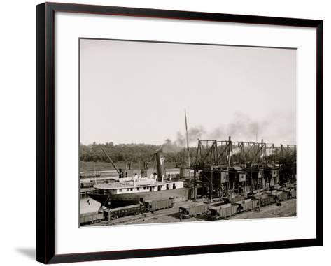 Unloading Ore at Conneaut, Ohio, Brown Conveying Hoists--Framed Art Print