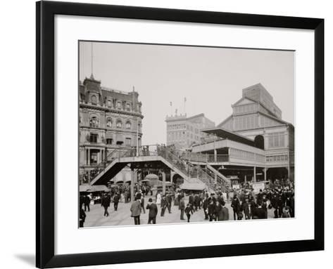 Manhattan Entrance to Brooklyn Bridge, New York--Framed Art Print